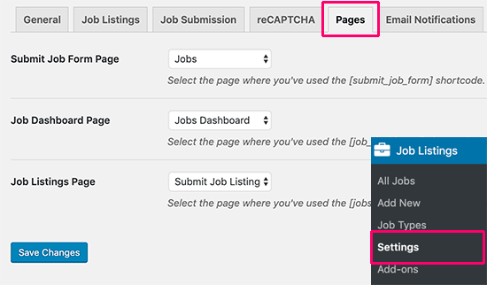 Select job manager pages