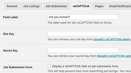 reCaptcha settings