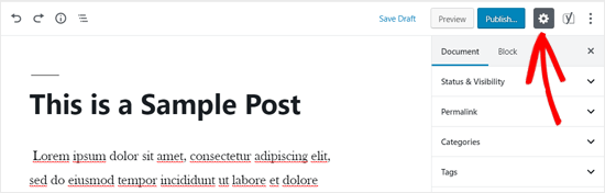 Icono de configuración del editor de WordPress
