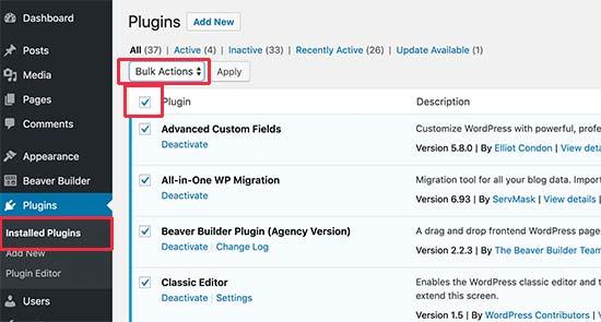 Deactivate all plugins via WordPress admin area