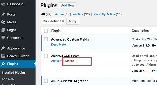 Delete WordPress plugin