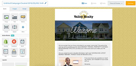 Creating welcome email