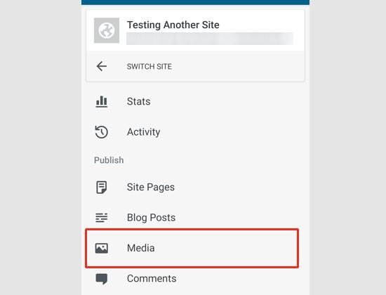 Медиа меню в приложении WordPress