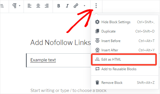 Select edit as HTML option from the top bar
