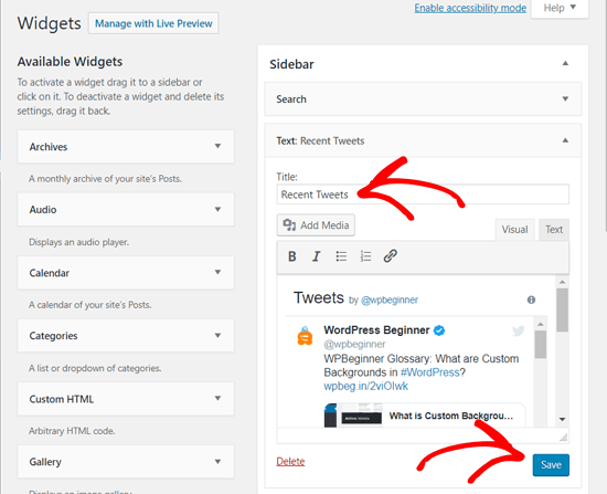 Save Your Recent Tweets Widget in WordPress