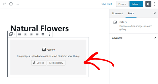 Image Upload Options in WordPress Gallery Block