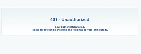 401 Authorization failed error
