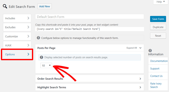 Define Search Results Per Page in Ivory Search Plugin