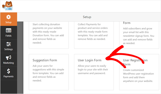 Select User Login Form Template WPForms