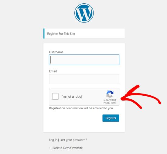 WordPress Registration Page with reCAPTCHA