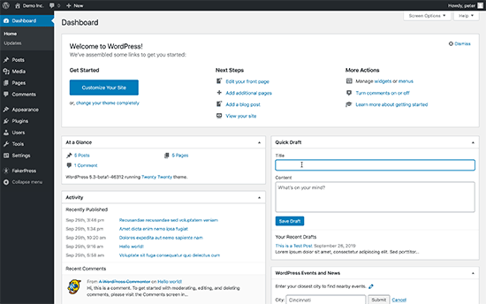 Appearance changes in WordPress dashboard