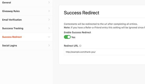 Success redirect
