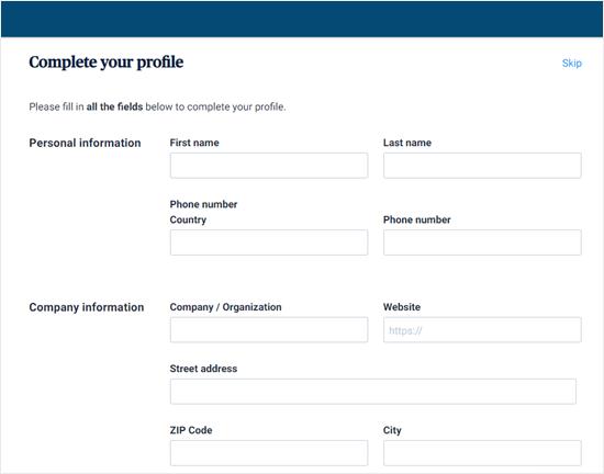 Complete your Sendinblue profile