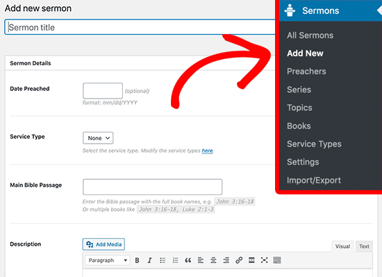 Add new sermon to WordPress