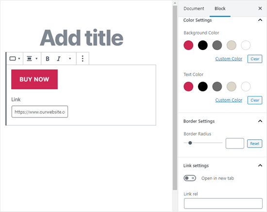 The right hand panel where you can edit your button's design and how the link works