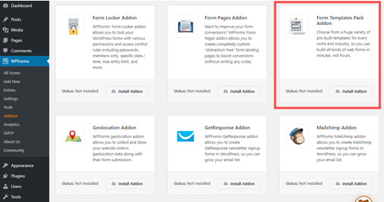 The 'Form Templates Pack' addon for WPForms