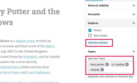 Adding new terms or select from existing terms