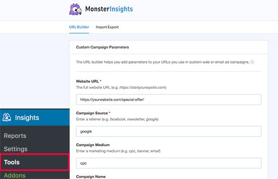 MonsterInsights URL builder tool