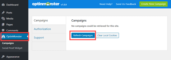 Click the button to refresh your OptinMonster campaigns