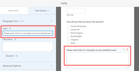 Editing the label for a field in WPForms