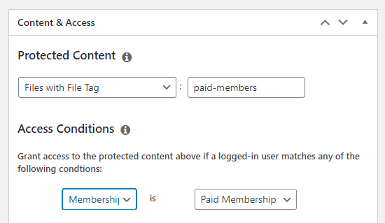 Setting the access conditions for your new rule