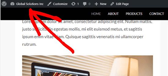 Bilah admin WordPress muncul di atas menu tempel