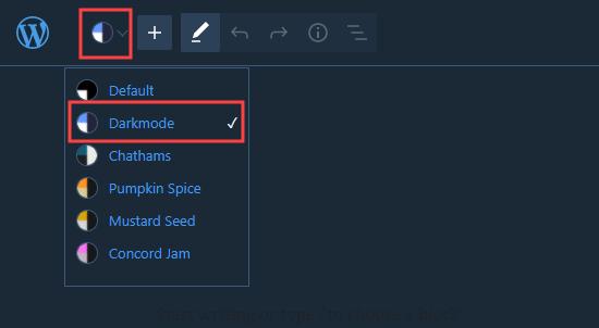 Mengaktifkan mode gelap di editor blok WordPress