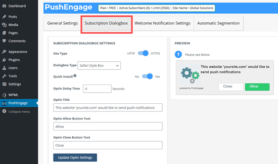 Changing the text in your subscription dialogbox