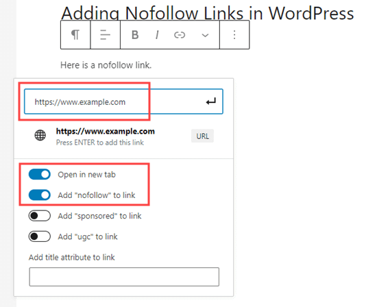 The nofollow attribute option added by All-in-One SEO