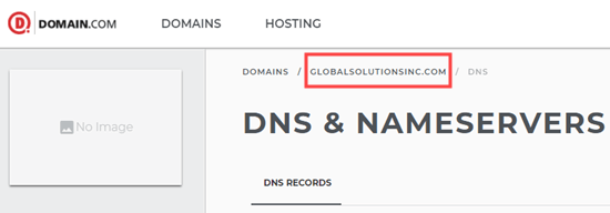 Make sure the correct domain name is selected