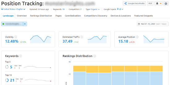 semrush position tracking feature