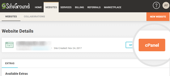 Clicking the button to access cPanel in SiteGround