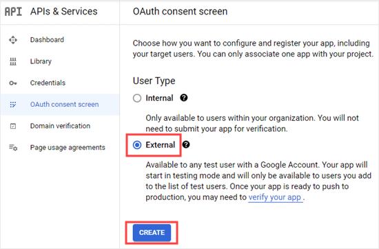 Selecting the External option