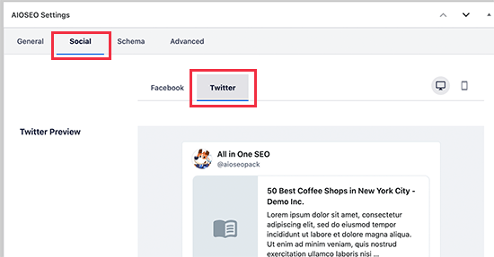 Twitter settings for individual posts and pages in WordPress using AIOSEO