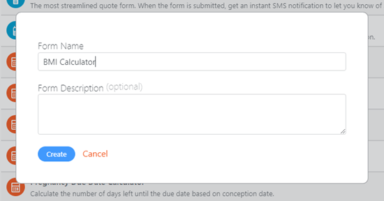 Type in a name for your BMI calculator form