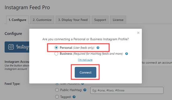 Connect your personal Instagram account to your WordPress site