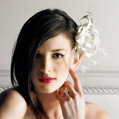 hair accessory with feathers and matte satin in champagne weddingstar