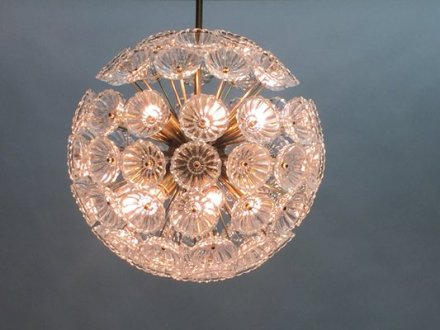 German Large Crystal Glass Ceiling Light by Werksentwurf for VEB     German Large Crystal Glass Ceiling Light by Werksentwurf for VEB Ebersbach   1950s 2