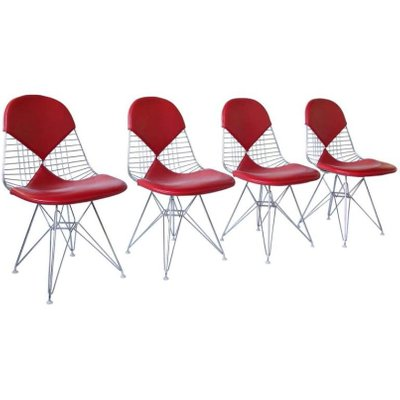 Herman miller vitra replacement, lounge chair, upholstery supplies tags: Red Leather Dkr Bikini Chairs By Charles And Ray Eames For Vitra Set Of 4 For Sale At Pamono