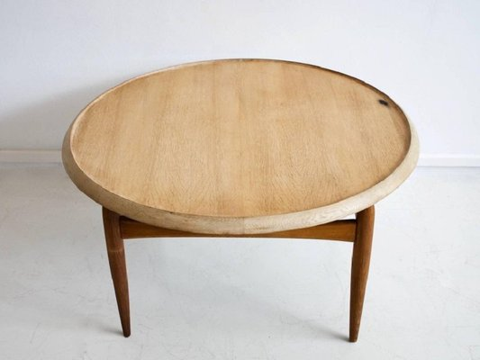 mid century round oak coffee table by ludvig pontoppidan