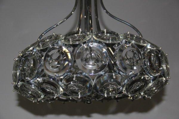 Lampadario in acciaio cromato a 5 luci degli anni '70 con coppe in vetro soffiato di murano. Lampadario Vintage In Acciaio E Vetro Italia Anni 70 In Vendita Su Pamono