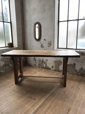 table de salle a manger industrielle en bois 1950s
