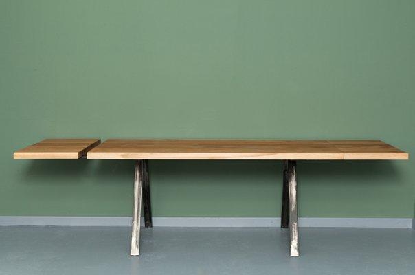 table de salle a manger landgraaf avec rallonge en chene recycle et metal par johanenlies