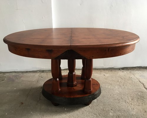 table de salle a manger art deco ronde en chene acajou france 1930s