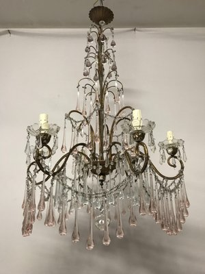 La catena, regolabile, con il rosone misurano circa 60 cm. Lampadario Vintage Con Perle In Cristallo E Gocce In Vetro Di Murano In Vendita Su Pamono