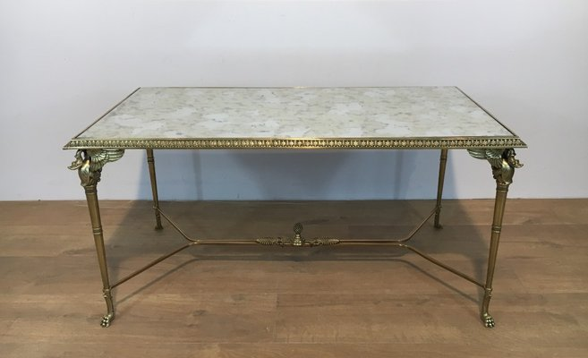 french neoclassical bronze and brass coffee table with swan heads and mirrored top 1940s