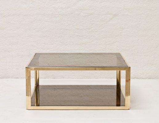 table basse en laiton verre fume 1970s