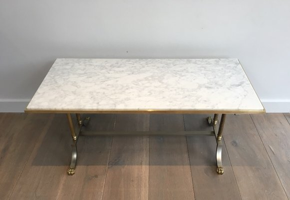 brushed steel and brass marble top coffee table from maison jansen 1940s