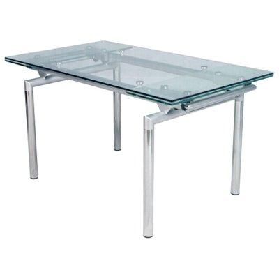 table extensible en chrome et verre italie 1960s