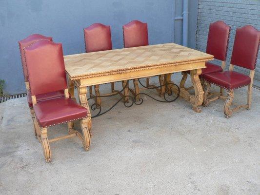 table de salle a manger a rallonge regency avec 6 chaises en chene 1950s